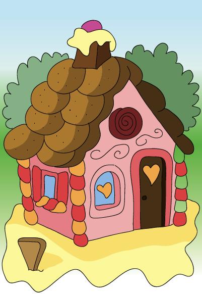 A caccia di dolci con h nsel e gretel - Casetta di cartone da colorare ...