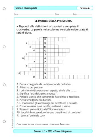 Prove Dingresso Storia Classe 4 La Vita Scolastica