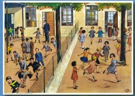 """Un'illustrazione di """"ieri"""": maschi e femmine a scuola separati da una rete"""