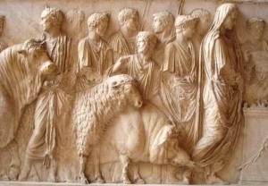 Rappresentazione del Suovetaurilia, ovvero del sacrificio di un maiale, una pecora e un toro, in occasione della cerimonia della Lustratio (purificazione) a Roma