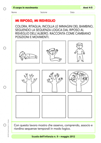 Sequenze temporali e associazioni logiche la vita scolastica for Schede sequenze temporali