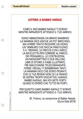 Babbo Natale Canzone.Lettera A Babbo Natale La Vita Scolastica