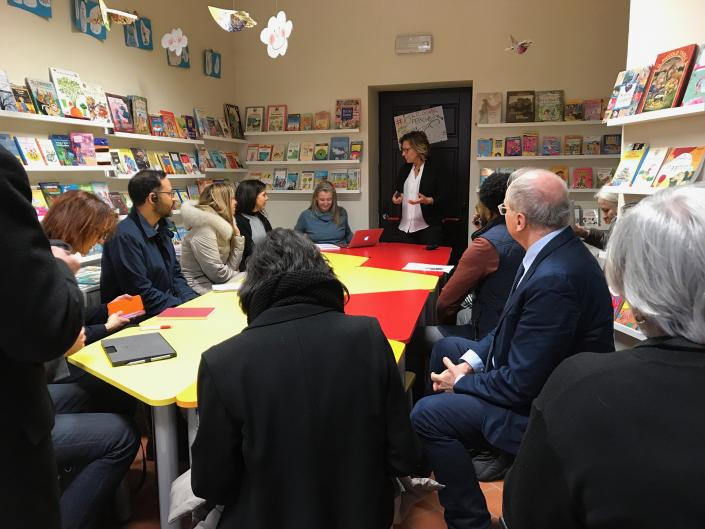 vistatori della Fondazione Bloomberg in biblioteca alla Casa del Sole - marzo 2018