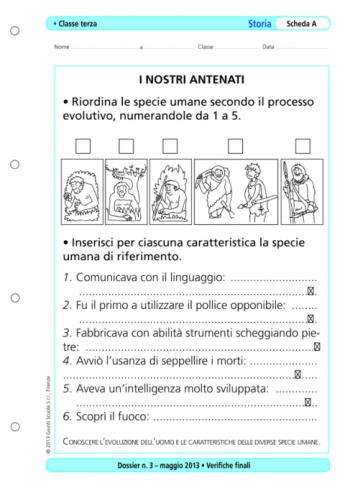 Verifiche Finali Storia Classe Terza La Vita Scolastica