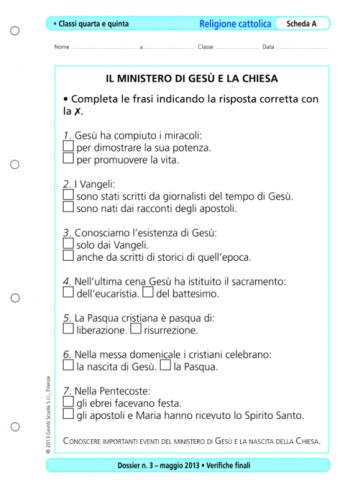 Verifiche Finali Religione Cattolica Classi Quarta Quinta La