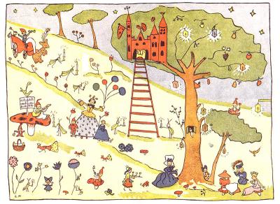 """vLa festa nel pineto, illustrazione di Elsa Morante per """"Le bellissime avventure di Caterì dalla trecciolina e altre storie"""""""